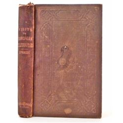 "ANTIQUE 1856 ""VISITS TO EUROPEAN CELEBRITIES"" HARDCOVER BOOK"