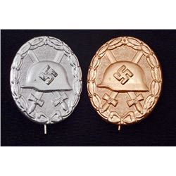 LOT OF 2 - GERMAN NAZI SILVER & GOLD WOUND BADGES