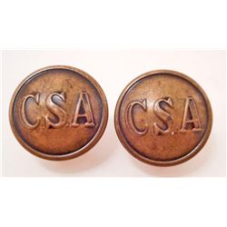 PAIR OF CONFEDERATE STATES ARMY CSA LADIES CIVIL WAR ERA EARRINGS