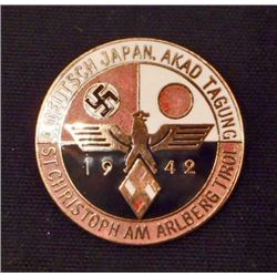 GERMAN JAPANESE 1942 ALLIANCE ENAMELED BADGE