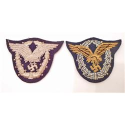 LOT OF 2 - GERMAN LUFTWAFFE AIR FORCE PILOT & PILOT OBSERVER BULLION BADGES