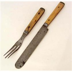 LOT OF 2 VERY EARLY CIVIL WAR ERA KNIFE & 3 PRONG FORK