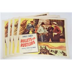"""LOT OF 4 """"BULLETS FOR RUSTLERS"""" MOVIE LOBBY CARDS"""