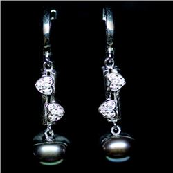 PAIR OF STERLING SILVER MAGENENTA PEARL AND TOPAZ EARRINGS
