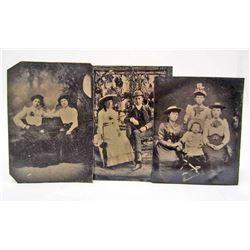 LOT OF 3 ANTIQUE TIN TYPE PHOTOS - FAMILIES