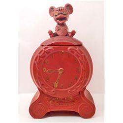 VINTAGE MOUSE ON CLOCK COOKIE JAR