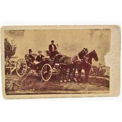 C. 1860'S BLACK AMERICANA CDV PHOTO - HORSE & BUGGY