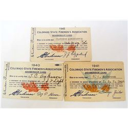 LOT OF 3 C. 1940'S COLORADO STATE FIREMAN'S ASSOC. MEMBERSHIP CARDS