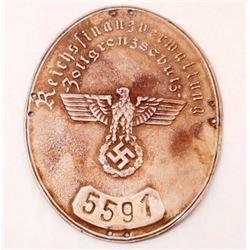 GERMAN NAZI CUSTOMS AGENT SHIELD