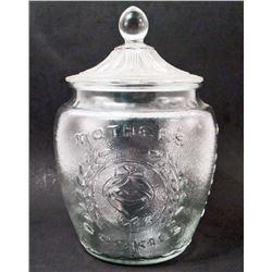 MOTHER'S COOKIES GLASS COOKIE JAR