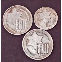 LOT OF 3 GERMAN NAZI- HOLOCAUST-  LITZEMANNSTADT GHETTO  COINS