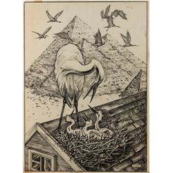 "Preliminary Sketch ""The Storks"" by Ron Croci for Andersen's Fairy Tales"