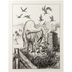 "Final Drawing ""The Storks"" by Ron Croci for Andersen's Fairy Tales"