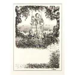 "Final Drawing ""The Garden of the Woman Learned In Magic"" by Ron Croci for Andersen's Fairy Tales"