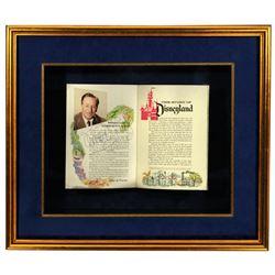 "Walt Disney Signed opening day ""The Story of Disneyland"" guidebook."