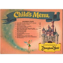 Disneyland Hotel child's coffee shop menu.