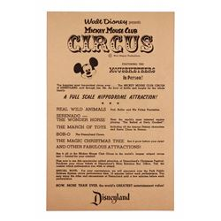 Rare Mickey Mouse Club Circus gate flyer.