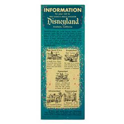 Information For Your Visit to Disneyland Gate fold-out.
