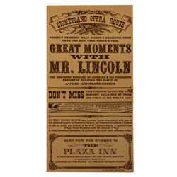 Great Moments With Mr. Lincoln grand opening gate flyer.