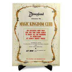 Magic Kingdom Club announcement poster.
