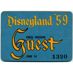 Press preview guest pass for 1959 re-opening.