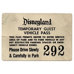 Press preview parking pass for 1959 re-opening.