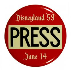 Press pass badge for 1959 re-opening.