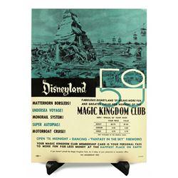 Magic Kingdom Club ticket booth poster.