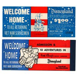 Disneyland Vietnam Servicemen complimentary discount voucher and ticket set.