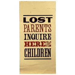 DISNEYLAND MAIN STREET LOST PARENTS ENTRY SIGN.