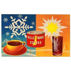 Original Hill Bros Coffee House display poster.