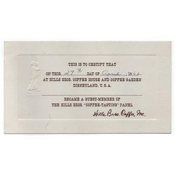 Hills Bros. Coffee House Tasting Panel Certificate.