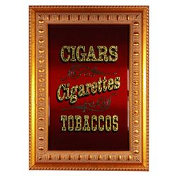 Main Street Tobacco Shop glass mirror sign.