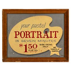 Main Street Art Festival pastel portrait sign.