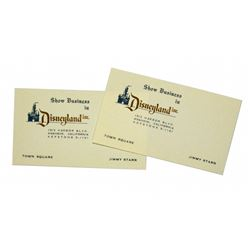 Jimmy Starr (2) Show Business in Disneyland business card.
