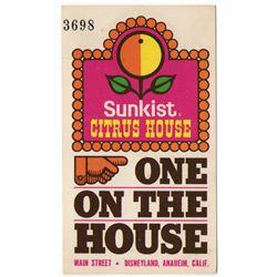 Sunkist Citrus House free juice card.