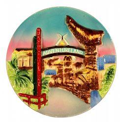 1955 Disneyland 3-D Adventureland decorative wall plate.