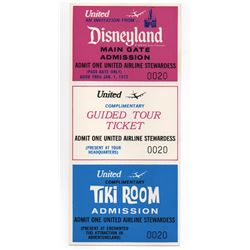 United Airlines stewardess Enchanted Tiki Room complimentary admission ticket.