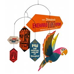 United Airlines Enchanted Tiki Room travel agents' promotional mobile with box.