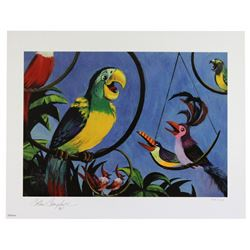 Colin Campbell signed Enchanted Tiki Birds (2) limited edition lithographs.