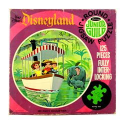 "Whitman circular puzzle featuring ""Mickey Mouse"" on the Jungle Cruise."