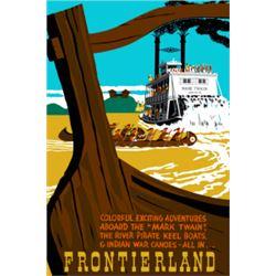 Original Mark Twain/Keel Boats/War Canoes Frontierland attraction poster.