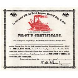 Mark Twain pilot's certificates.