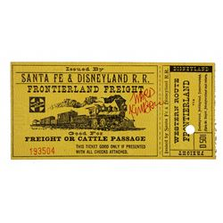 Ward Kimball signed Santa Fe & Disneyland Railroad ticket stub.