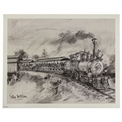 Sam McKim signed Santa Fe and Disneyland Railroad limited edition lithograph.