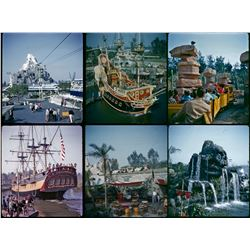 Collection of (10) color amateur 3-d stereo slides of Disneyland circa 1961.
