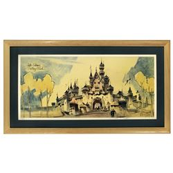 Herb Ryman signed Sleeping Beauty's Castle  limited edition lithograph.