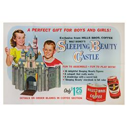 HILLS BROS. COFFEE PROMOTIONAL POSTER AND 3D SLEEPING BEAUTY'S CASTLE.