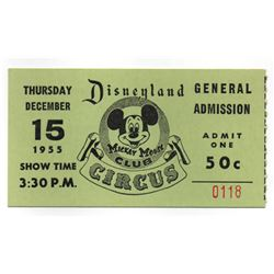 Mickey Mouse club Circus admission ticket.