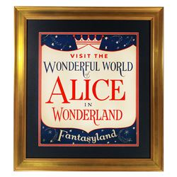 Original Alice in Wonderland  attraction lamppost shield.